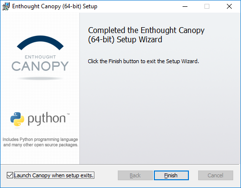 Installing python on Windows - Canopy Final Installation Screen