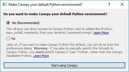 Installing python on Windows - Canopy Default Python