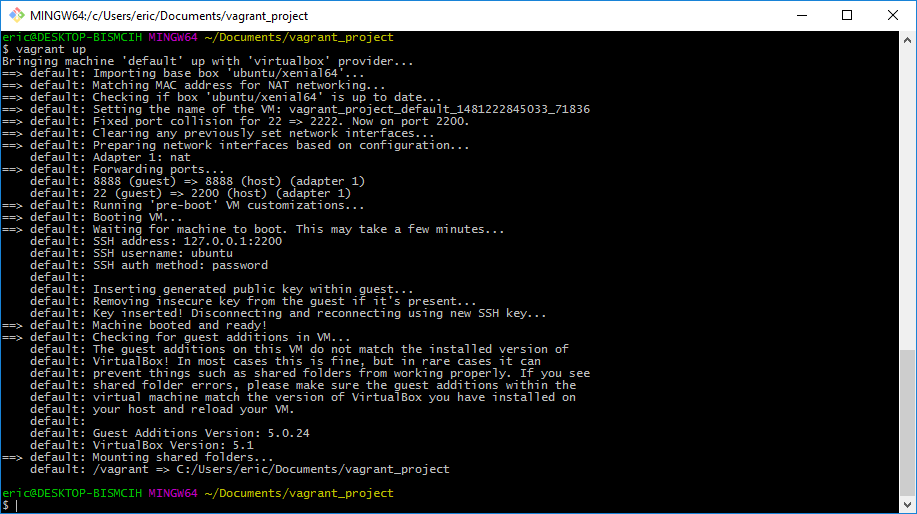 Output of Vagrant Up